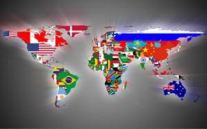 Флаги стран на карте мира