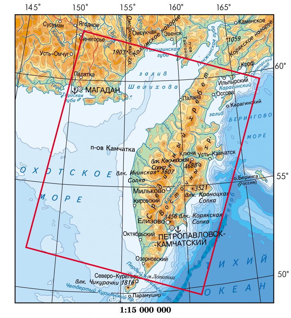 Карта Полуостров Камчатка. Фото из космоса.