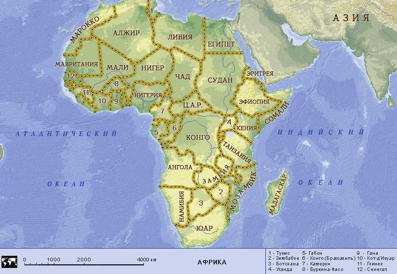 Географические карты стран мира » Полит. карта Африки малого размера