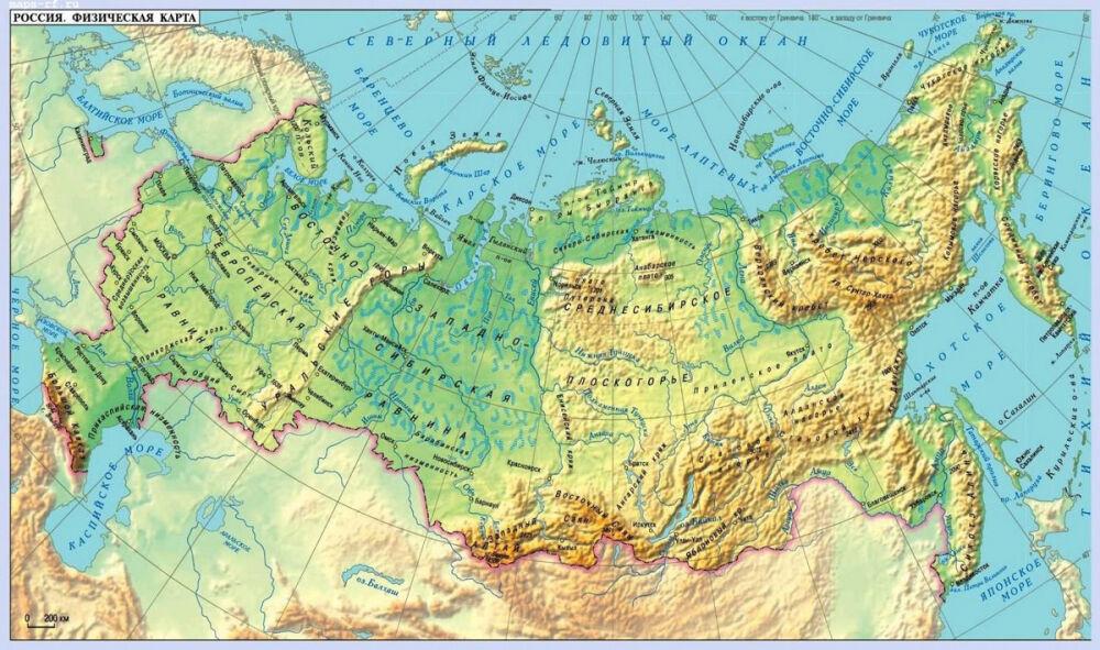 карта россии европейская часть