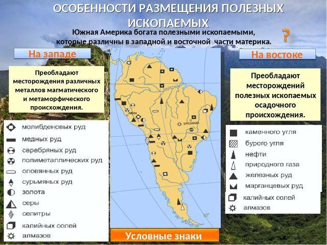 Открытый урок Рельеф и полезные ископаемые Южной америки