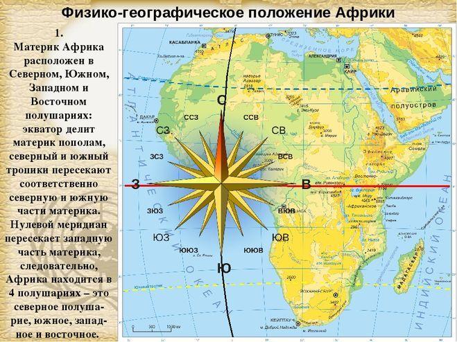 В каком полушарии находится Африка, в Северном или Южном?
