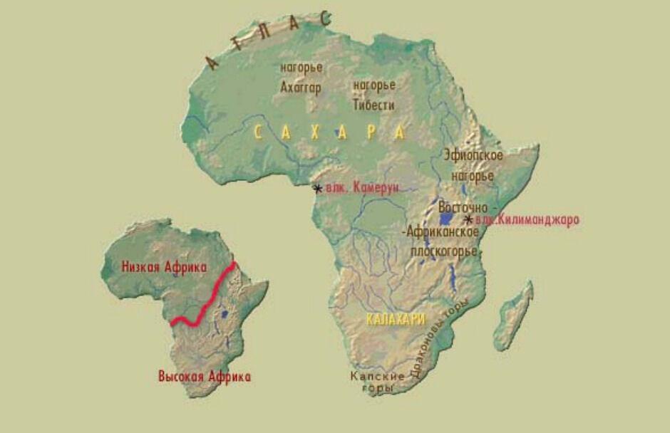 Презентация по географии на тему Рельеф Африки