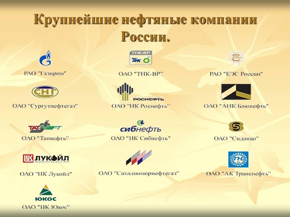 Крупные нефтяные компании