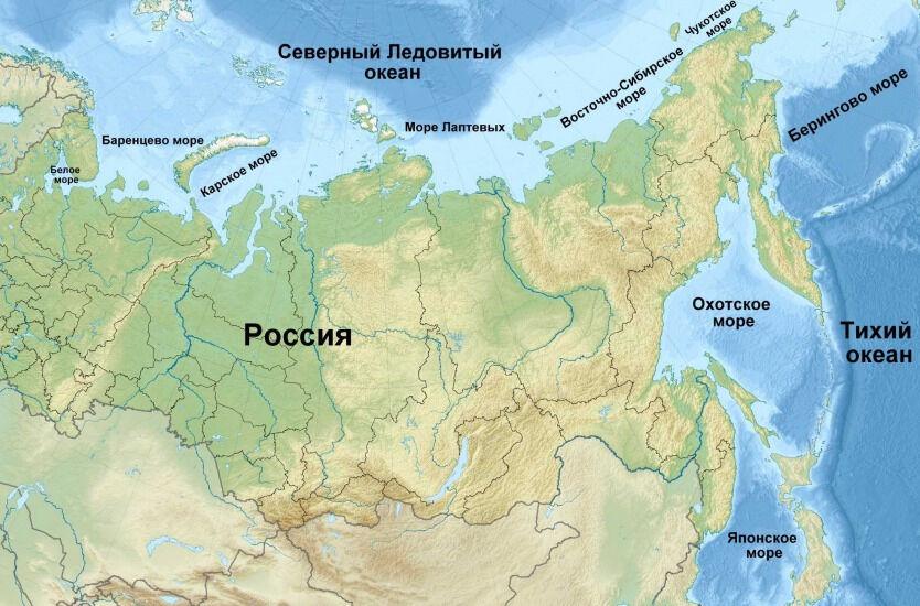Моря и океаны, омывающие берега России - список, описание и карта