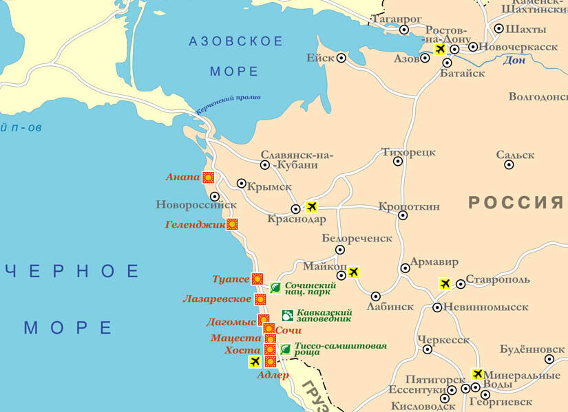 Карта побережья Черного моря и Азовского моря - расположение ...