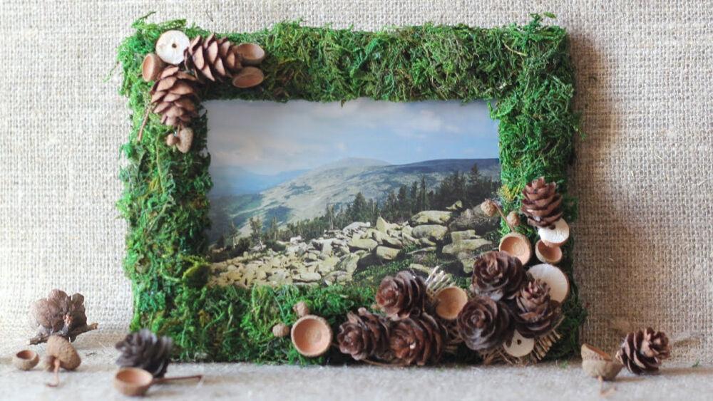 Рамка для фото с декором из мха. Мастер-класс - YouTube