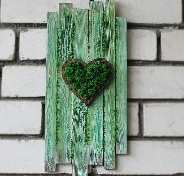 Панно из мха LOVE/Панно деревянное/Доска декоративная/Дерево мох ...
