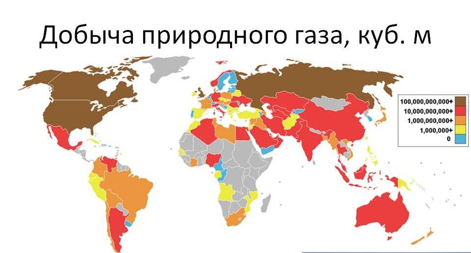 Добыча газа - мировые регионы и России