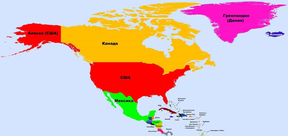 Страны Северной Америки: карта и таблица с названиями государств и ...