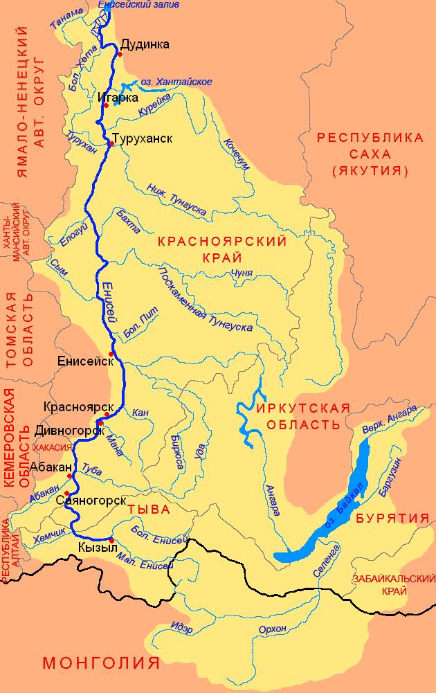 карта рек