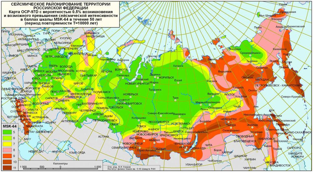 EuroLMK Карта сейсмических районов России