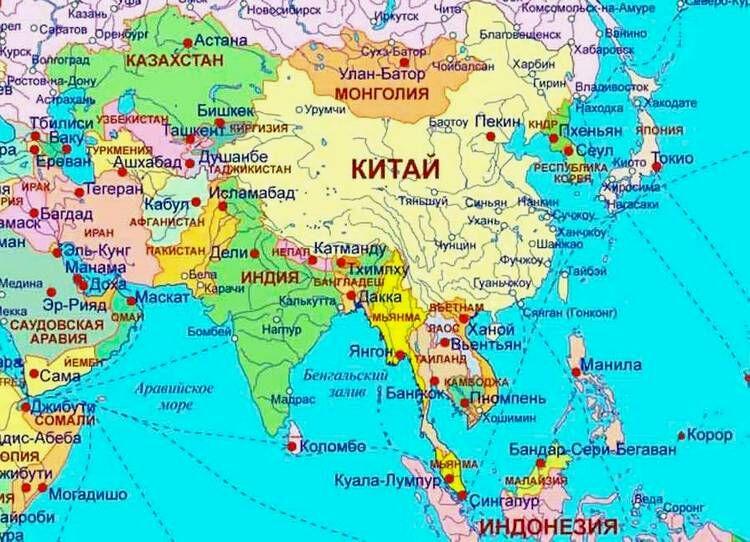 Страны и столицы Азии: список, политическая и физическая карта