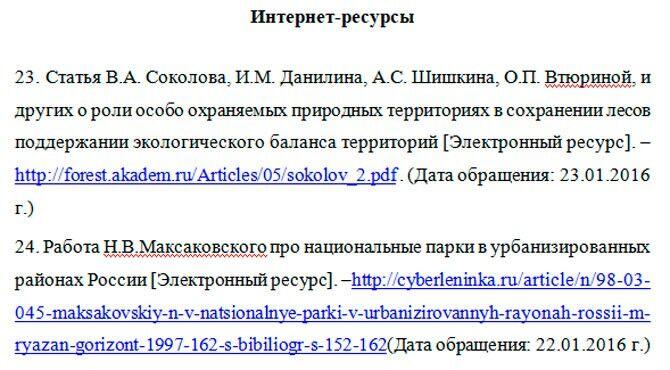 Оформление интернет-ресурсов в реферате