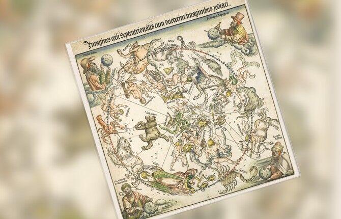 Гравюрные изображения 3 карт звездного неба Дюрера