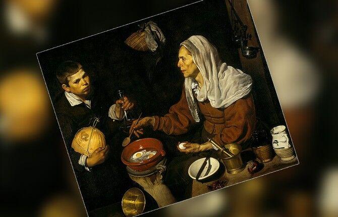 Картина Старуха, жарящая яйца