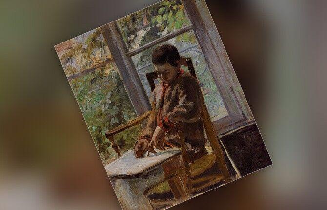 Люсьен Писсарро в интерьере. 1875 г.