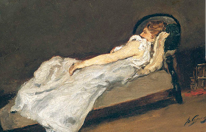 Метте Гоген, спящая на софе
