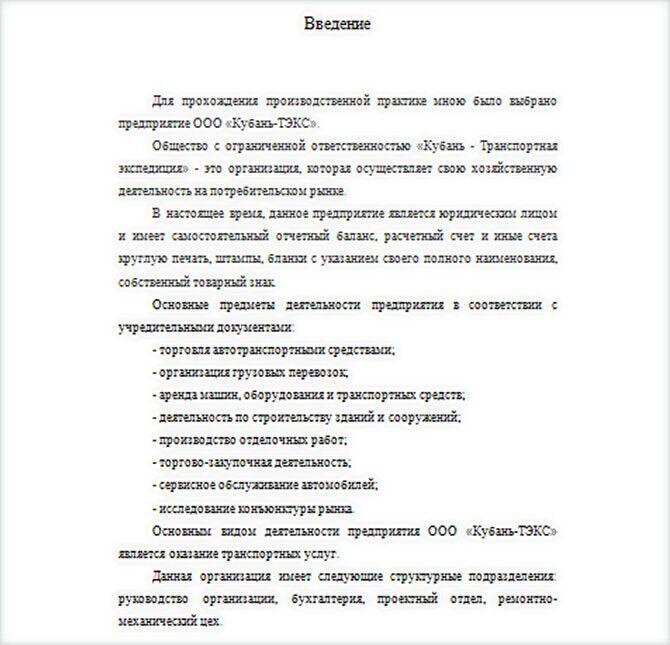 Отчет по производственной практике введение