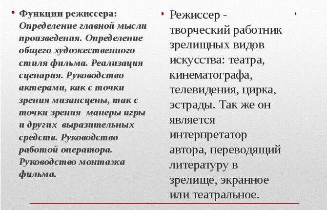 Функции режиссера