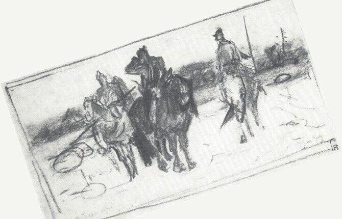 Набросок картины Васнецова «Три богатыря»