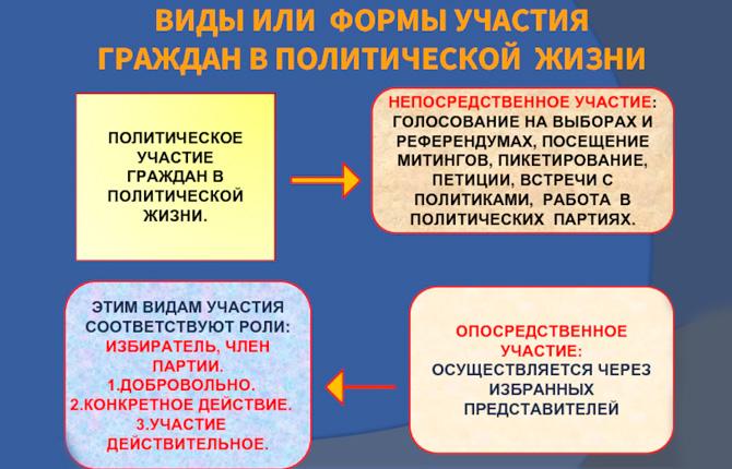 Виды и формы участия граждан в политической жизни